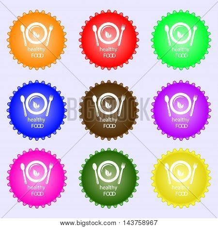 Healthy Food Concept Icon Sign. Big Set Of Colorful, Diverse, High-quality Buttons. Vector