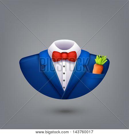 illustration of blue color tuxedo symbol with orange carrot on grey background