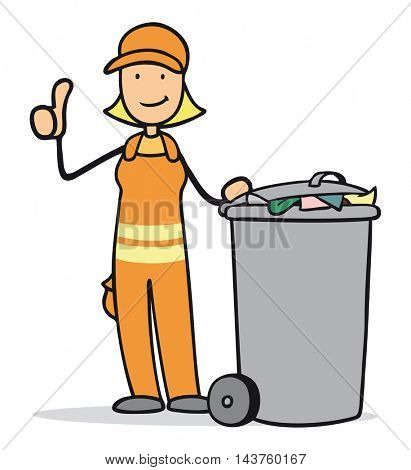 Happy cartoon garbage disposal woman holding her thumbs up
