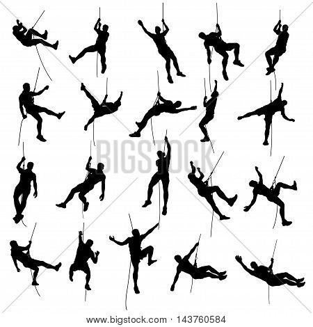 illustration of set of rock clmber male silhouette isolated on white background