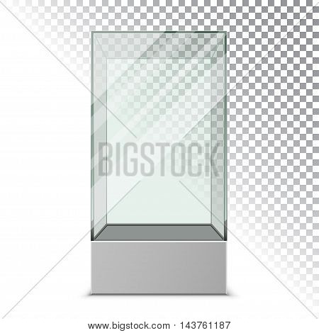 Empty glass showcase for exhibit. Vector illustration