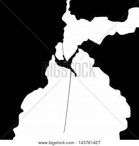 illustration of black color male rock climber silhouette in big cave