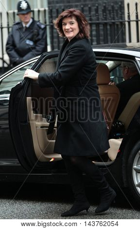 LONDON, FEB, 02, 2016: Nicky Morgan Education Secretary seen arriving for a cabinet meeting in Downing Street