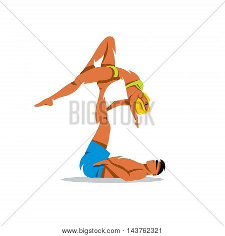 Couple practicing yoga. Isolated on a White Background