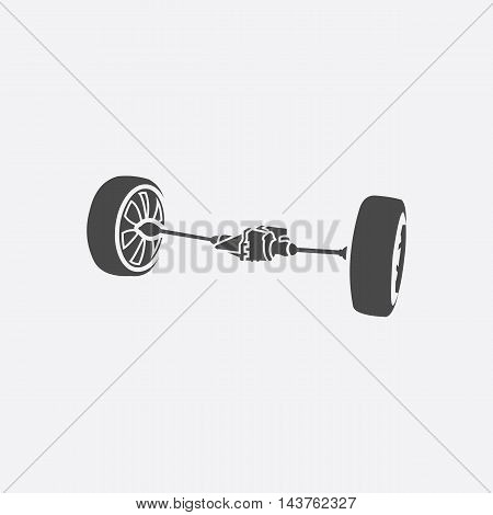 Front car suspension icon style. Single silhouette auto parts icon from the big car set - stock vector