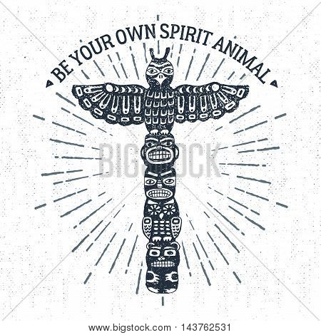 Hand drawn tribal label with textured totem pole vector illustration and