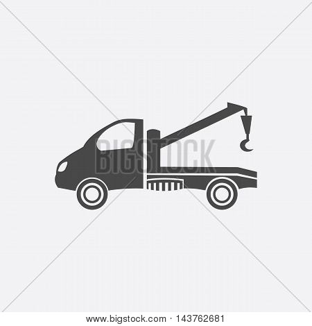 Tow car icon black. Single car repair parts symbol.