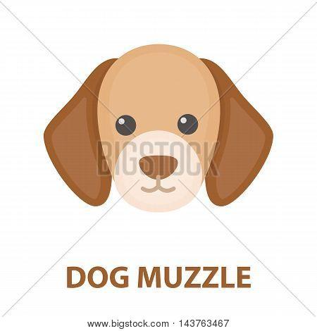 Dog muzzle vector illustration icon in cartoon design