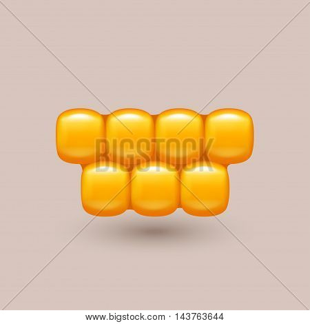 illustration of gold color corn cells with shadow on bright background
