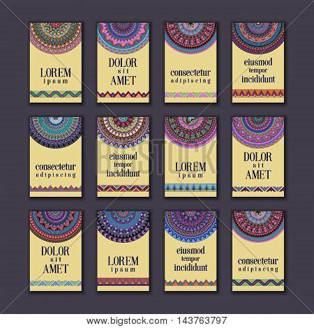 Vintage Banners Cards Set. Ornamental Mandala, Ethnic Circle Decorative Elements