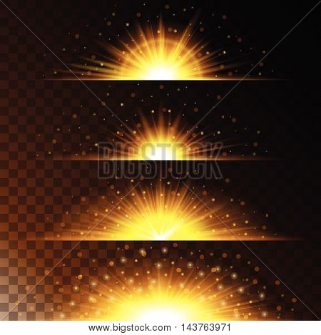 Set realistic lighting effects. Glowing star. Light and glitter on a transparent background. Shining magical border of yellow balls. Vector illustration.