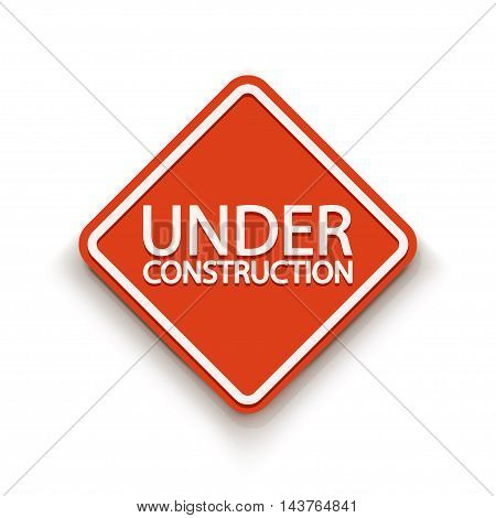 illustration of red sign under construction with shadow on white background