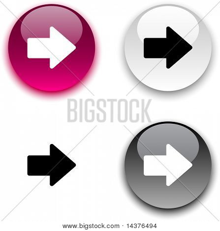 Arrow glossy round vector buttons.