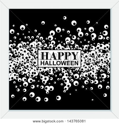 Happy Halloween black banner with apple of the eye. Vector background.