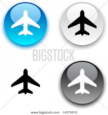 Aircraft glossy round vector buttons.