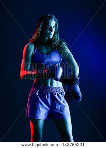 woman boxer boxing isolated