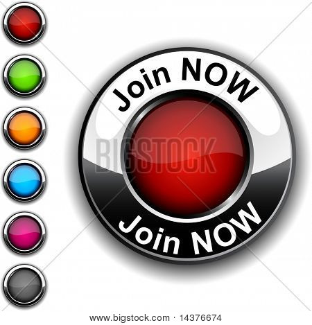 Join now realistic button. Vector.