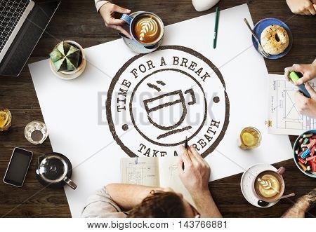 Coffee Break Tea Time Stamp Icon Graphic Concept