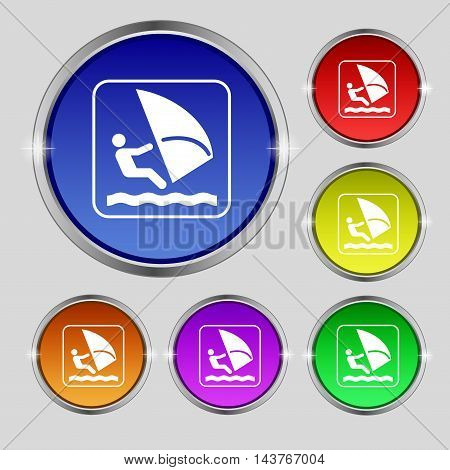 Windsurfing Icon Sign. Round Symbol On Bright Colourful Buttons. Vector