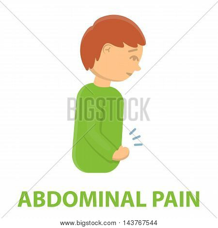 Abdominal pain icon cartoon. Single sick icon from the big ill, disease collection.