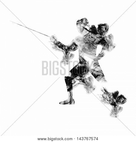 Fencing Athlete on white background, Creative vector illustration made by smoke effects for Sports concept.