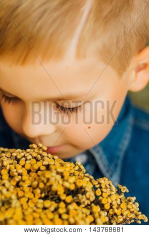 Child's Happy Face . Portrait Of A Cute Kid.  Little Boy With Sh