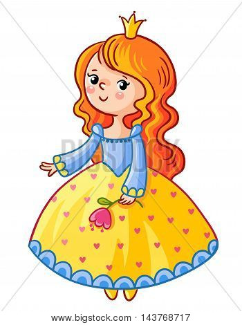 Cute Princess stand on a white background. Girl with a crown and a flower in her hand. Vector illustration of a princess in a cartoon style. Little Queen in the yellow-blue dress.