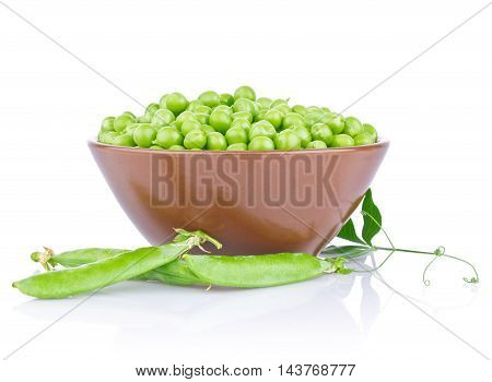 Fresh organic green pea with leaf in ceramics plate isolated on white background