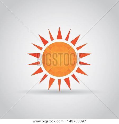 Sun icon in polygonal style with shadow on a gray background. Vector illustration eps10