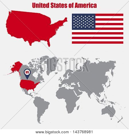 USA map on a world map with flag and map pointer. Vector illustration