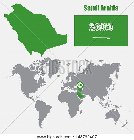 Saudi Arabia map on a world map with flag and map pointer. Vector illustration