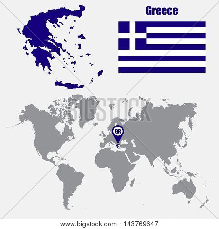 Greece map on a world map with flag and map pointer. Vector illustration