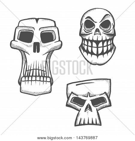 Skull sketch icons set. Halloween scary skeleton face sign for cartoon, label, tattoo, t-shirt, print, poster, decoration