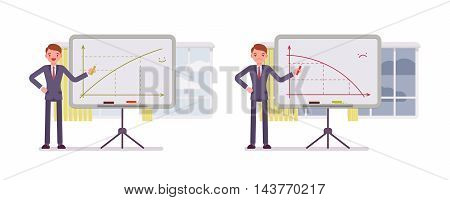 Set of two business scences. A man points to positive and negative charts on the whiteboard. Cartoon vector flat-style concept illustration