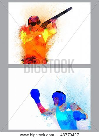 Creative illustration of Shooting and Basketball Player made by watercolor splash, Abstract Sports background with space for text, Can be used as Template, Brochure, Flyer design.