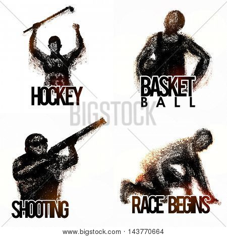 Set of different Sports including Hockey, Basketball, Race and Shooting with illustration of players made by abstract design.
