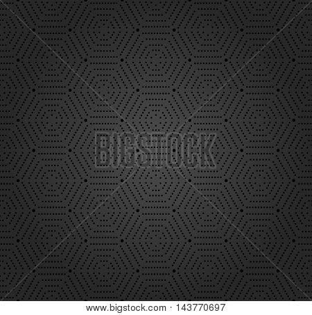Geometric repeating dark vector ornament with hexagonal dotted elements. Seamless abstract modern pattern