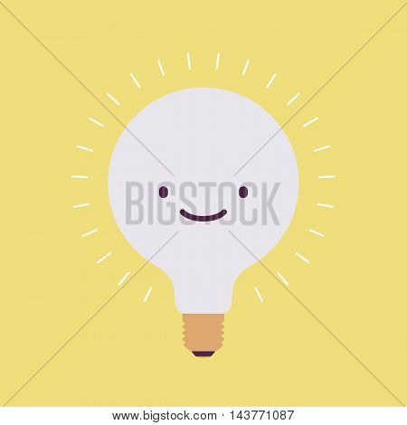 Brightly flickering bulb with a smile. Yellow background. Consept cartoon flat-style illustration