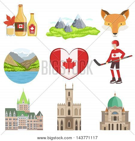 Canadian Culture Symbols Set Of Items. Isolated Objects Representing Canada On White Background