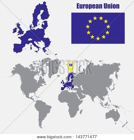 European Union map on a world map with flag and map pointer. Vector illustration