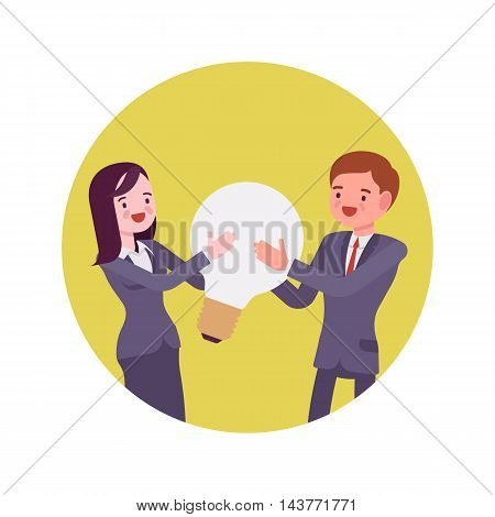 Man and woman hold together a light bulb. Yellow circle background. Cartoon vector flat-style concept illustration
