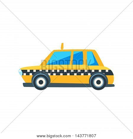 Yellow Taxi Toy Cute Car Icon. Flat Vector Transport Model Simple Illustration Isolated On White Background.