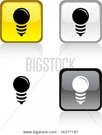 Bulb glossy square vibrant buttons.
