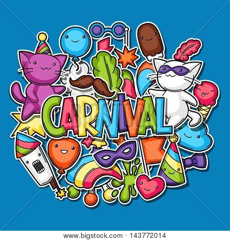 Carnival party kawaii background. Cute sticker cats, decorations for celebration, objects and symbols.