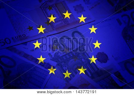 Eu flag and euros - Finance concept