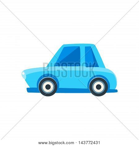 Blue Sedan Toy Cute Car Icon. Flat Vector Transport Model Simple Illustration Isolated On White Background.