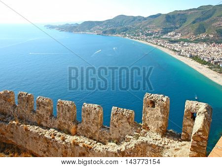 Beautiful view from Alanya Castle in Turkey