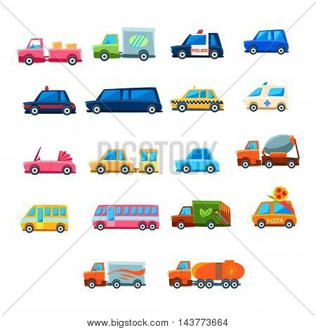 Cute Toy Car Set Of Colorful Icons. Flat Vector Transport Model Collection Of Simple Illustrations Isolated On White Background.