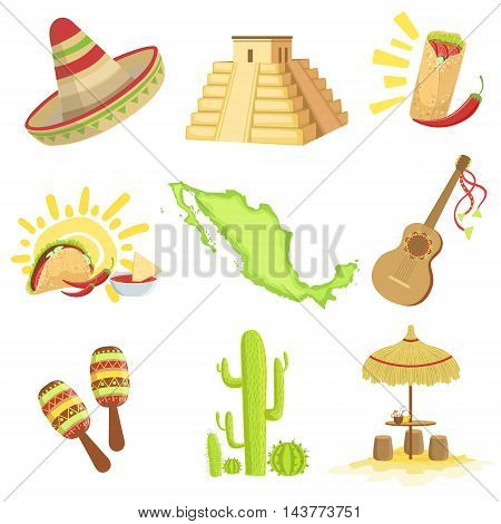 Mexican Culture Symbols Set Of Items. Isolated Objects Representing Mexico On White Background