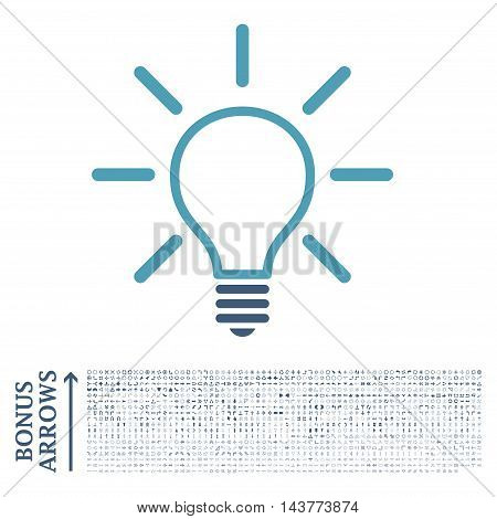 Light Bulb icon with 1200 bonus arrow and direction pictograms. Vector illustration style is flat iconic bicolor symbols, cyan and blue colors, white background.